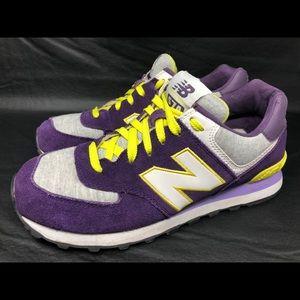 Woman's New Balance Purple Gray Lime White NB574